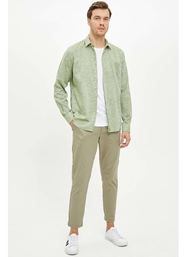 DeFacto Keten Modern Fit Gömlek Yeşil